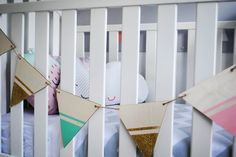 Clever pennant room decor. This could make for a fun DIY.