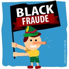 Black Friday Brasil. Denuncie os descontos mentirosos com esta ilustração Black Fraude com o Pinóquio segurando uma bandeira Black Fraude. Imagens AQUI ->