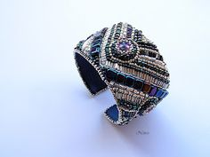 koralikowe fantazje Noiree: Bransoletka Iris  Made from Toho beads with rivoli Swarovski #bracelet #embroidery #beads #Swarovski