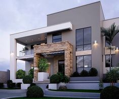 37 Stunning Contemporary House Exterior Design Ideas You Should Copy - Today, contemporary house plans are very intelligently designed to give utmost comfort to the people. These plans not only feature flexible floor spac. House Front Design, Modern House Design, Flat House Design, Modern House Facades, Contemporary House Plans, Contemporary Garden, Contemporary Interior, Contemporary Wallpaper, Contemporary Design