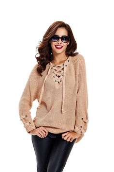 Apparel Women's Long Sleeve Lace Up Knit Pullover Sweater Dress Top. Khaki, One size at Amazon Women's Clothing store: