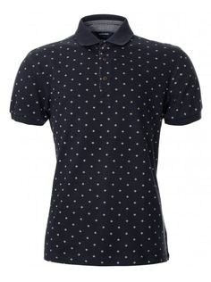 Short sleeve polo shirt in navy with an all-over print pattern and three button placket. Go Blue, Short Sleeve Polo Shirts, Lacoste, Indigo, Print Patterns, Men's Fashion, Navy, Stylish, Prints