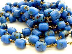 Blue Pink Art Glass Bead Multi 3 Strand Necklace Vintage   eBay