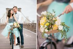 Brooklyn Bridge anniversary session with a bike + market-inspired bouquet