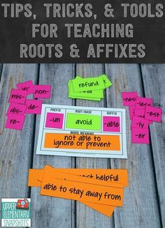 Tricks, and Tools for Teaching Roots and Affixes Free and easy tools for teaching prefixes, Greek and Latin roots, and suffixes.Tips Tips may refer to: TIPS as an acronym may refer to Teaching Vocabulary, Teaching Language Arts, Vocabulary Activities, Speech And Language, Vocabulary Strategies, Academic Vocabulary, Listening Activities, Spelling Activities, Reading Strategies