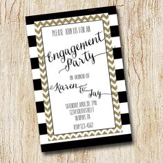 Engagement Party Invitation - rehearsal dinner invitation - Wedding Party - Digital file - Printable or PRINTED - Chevron Gold Stripes on Etsy, $15.00
