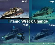 Titanic on the bottom, over the years. Naufrágio Do Titanic, Titanic Wreck, Titanic Photos, Titanic Sinking, Titanic Movie, Titanic Drawing, Titanic Underwater, Titanic Artifacts, Shipwreck