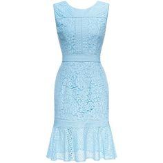 Sleeveless Ruffles Lace Dress (3.645 RUB) ❤ liked on Polyvore featuring dresses, ruffle dress, knee length lace dress, blue ruffle dress, knee length cocktail dresses and light blue dress