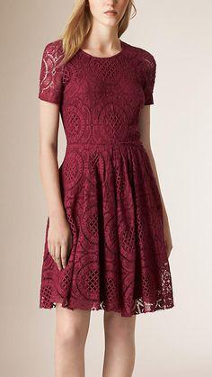 Cherry pink English Lace A-Line Dress - Image 1