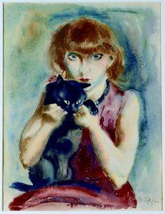 teldolap:  rudolf schlichter my woman with cat 1928-30