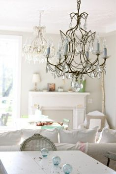 Shabby chic living room with chandelier