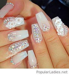 New nail art design so feminine and elegant
