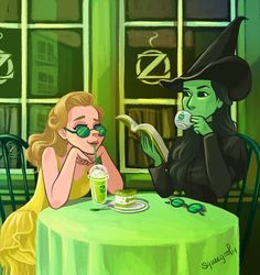 """""""Wicked"""" fan art - Glinda and Elphaba drinking OzBucks Coffee 