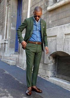 Men's Dark Green Blazer, Blue Denim Shirt, Dark Green Dress Pants, Dark Brown Leather Tassel Loafers