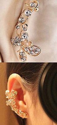 Gold tone rhinestone ear cuff - gypsy, boho, bling, wedding jewelry, belly dancing etc by gypsybeachbodyjewels. Explore more products on http://gypsybeachbodyjewels.etsy.com