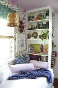 Jessica shares her IKEA hack -- a daybed reading nook -- made from 4 BILLY bookcases. They used and to built bases for the shelves and the daybed portion. Then, topped the daybed with plywood. Diy Storage Bed, Under Bed Storage, Smart Storage, Storage Hacks, Storage Solutions, Ikea Billy Bookcase, Bookshelves Ikea, Billy Ikea, Bookshelf Styling