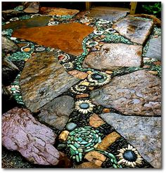 Nearby, in my area of North Carolina, is an artist/musician/stonemason who will wow you with his amazing creations in garden lands. Pebble Mosaic, Mosaic Art, Mosaics, Outdoor Art, Outdoor Gardens, Rock Edging, Stone Path, Mosaic Garden, Garden Spaces