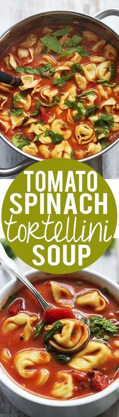 30 Minute Tomato Spinach Tortellini Soup! | Creme de la Crumb