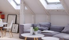 The Attic Home Interior Has Painted Wood Frames, Gray Sofa, Wood Floors, a Round Table, Eames Chairs and Nesting Tables Attic Apartment, Attic Rooms, Attic Playroom, Attic Library, Attic House, Attic Bathroom, Slanted Walls, Slanted Ceiling, Attic Renovation