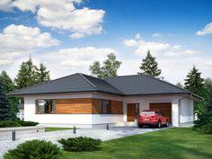 Wizualizacja TP Temida CE Modern House Floor Plans, Bungalow House Plans, Bedroom House Plans, Exterior Colors, Exterior Design, Interior And Exterior, House Color Schemes, House Colors, House Outside Design