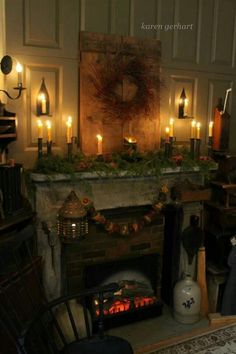 love the fireplace and door w/wreath! Primitive Homes, Primitive Fireplace, Fireplace Mantle, Primitive Mantels, Fireplace Ideas, Christmas Fireplace, Prim Christmas, Christmas Mantels, Country Christmas