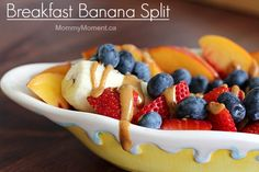"Are looking for a delicious, healthy breakfast idea? This breakfast banana split recipe is sure to hit the spot. It's a fun, healthy food for kids & adults. Check out the ""drizzle"" ingredient! Savory Breakfast, Breakfast Bake, Best Breakfast, Quinoa Breakfast, Brunch Recipes, Breakfast Recipes, Dessert Recipes, Breakfast Ideas, Healthy Meals For Kids"