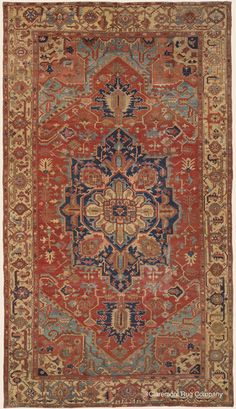 Connoisseur Caliber Antique Persian Serapi rug with center medallion and subtle abrash gold border Antique Rug - Claremont Rug Company Persian Carpet, Persian Rug, Rug Company, Magic Carpet, Tribal Rug, Carpet Runner, Rugs On Carpet, Antiques, Oriental Rugs
