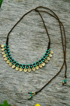 Tribal necklace, macrame necklace, turquiose and gold tribal drop shape statement necklace, macrame, micro macrame - Jewelry Ideas Macrame Necklace, Tribal Necklace, Macrame Jewelry, Boho Necklace, Boho Jewelry, Jewelry Crafts, Jewelery, Jewelry Accessories, Handmade Jewelry