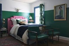 two tone walls. two color painted walls. green and white room with pink headboard! Home Bedroom, Bedroom Decor, Bedrooms, Master Bedroom, Bedroom Ideas, Design Bedroom, Pink Headboard, Headboard Ideas, Half Painted Walls