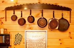 Old Saw Blade turned Pot Rack