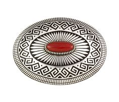 Sterling silver buckle with very fine chisel work set with Mediterranean coral by Lee Yazzie.