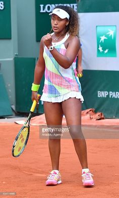 Naomi Osaka of Japan reacts during the women's single third round match against Simona Halep (not seen) of Romania at the French Open tennis tournament at Roland Garros Stadium in Paris, France on May Osaka, American Athletes, Female Athletes, Us Open, Serena Williams Bikini, Cristiano Ronaldo, Tennis Clothes, Shoes Tennis, Beautiful Athletes