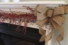 burlap mantel bows burlap bow Christmas bow by TheRusticRaven, $30.00