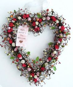Spring heart shaped wreath