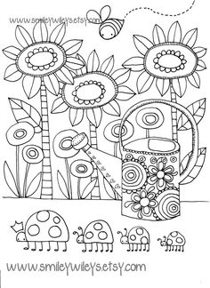 Happy Garden Printable Colouring Book Pages Set of por smileywileys