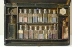 Early Paintbox Set Fraktur Pigment in Bottles Art History Early 19th Century Paint Set