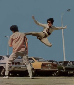 Bruce and his amazing flying kick at the ocean terminal carpark