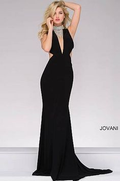 Black Jersey Fitted Embellished Neck Party Dress 36971