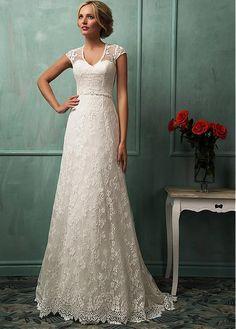 Gorgeous Lace V-neck Neckline Natural Waistline A-line Wedding Dress With Beadings & Rhinestones