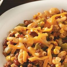 Homemade chili Mac... We made this last night minus the corn and added a packet of McCormick chili seasoning. It was amazing!