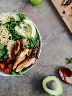 Honey Chipotle Chicken Bowls with Lime Quinoa I Could replace quinoa with brown rice