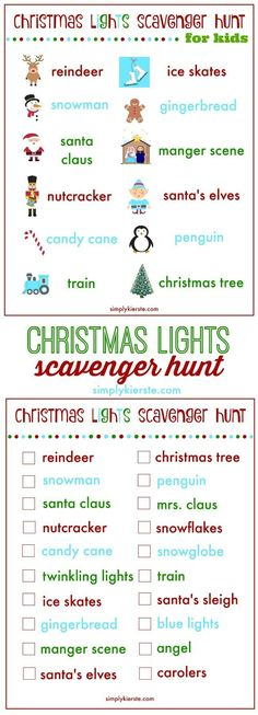 on a Christmas lights scavenger hunt with your family! Make going to look at Christmas lights an adventure with a fun Christmas lights scavenger hunt! It makes a perfect family night! Christmas Scavenger Hunt, Christmas Party Games, Christmas Activities, Christmas Printables, Christmas Traditions, Holiday Fun, Christmas Decorations, Holiday Ideas, Xmas Games