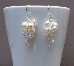 Swarovski Bridal Pearl Earrings White Clear by DesignsbyTBrigham, $38.00