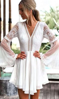 With a cut out back, tassel ties, and a combination of lace textures, this mini dress offers a boho look with a sexy twist. The Feeling Flirty mini dress featur Short Beach Dresses, Short Boho Dress, Formal Boho Dress, White Semi Formal Dress, White Boho Dress, White Lace, White Chiffon, Moda Outfits, Donia
