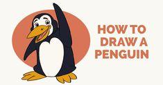 Penguin Drawing, Comic Drawing, Popular Cartoons, Cool Cartoons, Drawing Tutorials For Kids, Art Tutorials, Simple Cartoon, Cute Cartoon, Tinkerbell Drawing