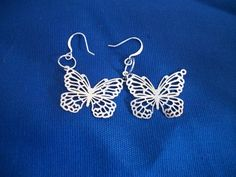 Handcrafted Silver Colored Butterfly Earrings $2.99