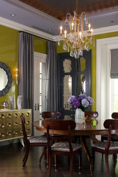 Glossy chartreuse sitting room walls
