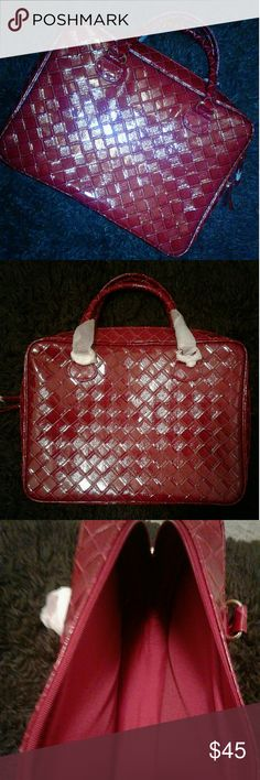 """Liquorice Leather Study Case Royal deep red patent leather in lattice with gold accents. Zipper fob leather tabs and slim fit for small laptop, study, or just a cute travel bag. Red fabric lined interior. Double zipper closure.  Dimensions:  13"""" by 10"""" Estee Lauder Accessories Laptop Cases"""