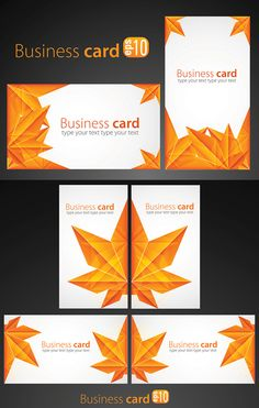 Maple Leaf Chinese Restaurant origami business card vector graphic