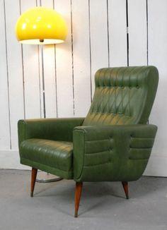 Retro Green Vinyl French Armchair Vintage Mid Century Chair